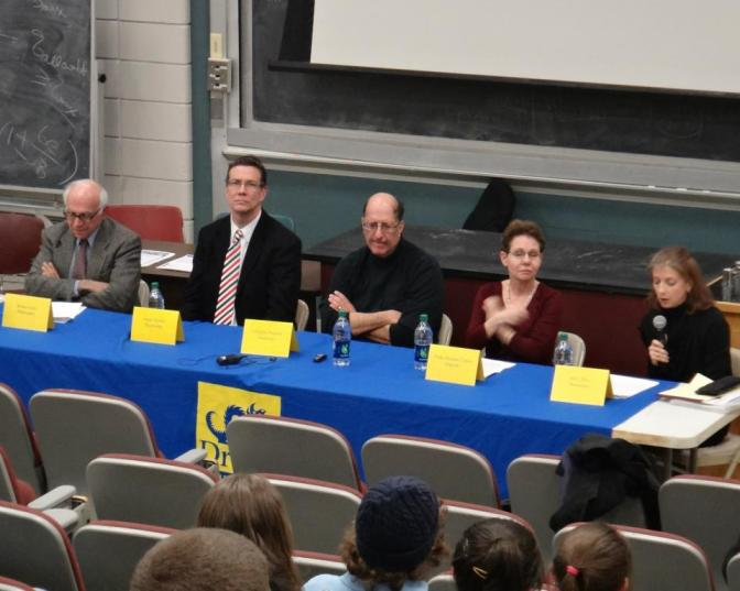 The panelists (from left to right): Robert Audi, James Herbert, Douglas Porpora, Paula Marantz Cohen, M.G. Piety